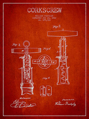 Wine Bottle Digital Art - Corkscrew Patent Drawing From 1862 - Red by Aged Pixel
