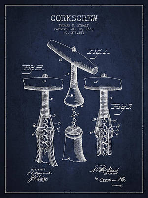 Corkscrew Patent Drawing From 1883 Art Print by Aged Pixel