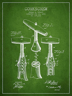 Antique Corkscrew Digital Art - Corkscrew Patent Drawing From 1883 - Green by Aged Pixel