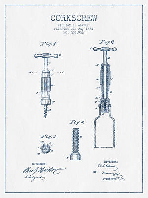 Wine Royalty-Free and Rights-Managed Images - Corkscrew patent Drawing from 1884- Blue Ink by Aged Pixel