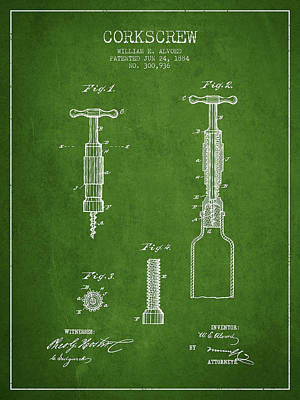 Wine Royalty-Free and Rights-Managed Images - Corkscrew patent Drawing from 1884 - Green by Aged Pixel