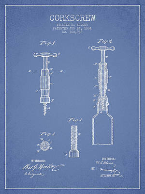 Wine Royalty-Free and Rights-Managed Images - Corkscrew patent Drawing from 1884 - Light Blue by Aged Pixel