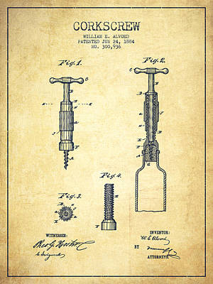 Wine Royalty-Free and Rights-Managed Images - Corkscrew patent Drawing from 1884 - Vintage by Aged Pixel