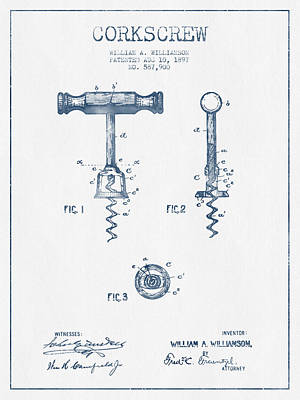 Corkscrew Patent Drawing From 1897 - Blue Ink Art Print by Aged Pixel