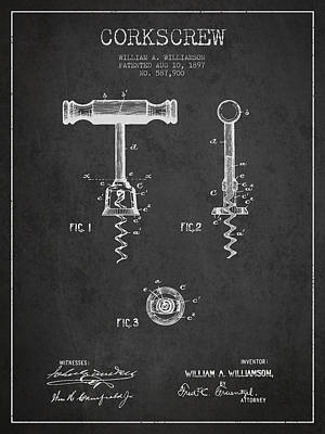 Wine Bottles Digital Art - Corkscrew Patent Drawing From 1897 - Dark by Aged Pixel