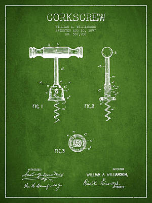 Wine Bottles Digital Art - Corkscrew Patent Drawing From 1897 - Green by Aged Pixel