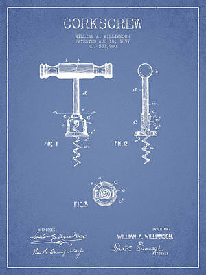 Wine Royalty-Free and Rights-Managed Images - Corkscrew patent Drawing from 1897 - Light Blue by Aged Pixel