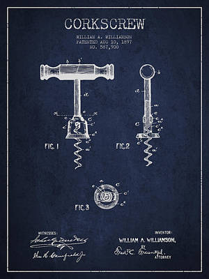 Wine Bottles Digital Art - Corkscrew Patent Drawing From 1897 - Navy Blue by Aged Pixel