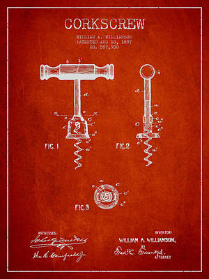 Wine Royalty-Free and Rights-Managed Images - Corkscrew patent Drawing from 1897 - Red by Aged Pixel