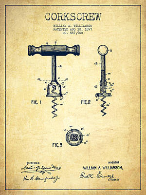 Wine Drawing - Corkscrew Patent Drawing From 1897 - Vintage by Aged Pixel