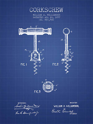Corkscrew Patent From 1897 Blueprint Art Print by Aged Pixel