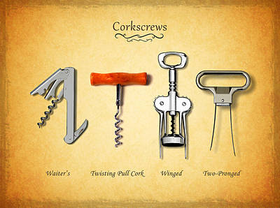 Food And Beverage Photograph - Corkscrews by Mark Rogan