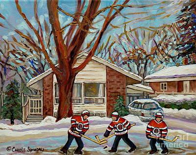 Hockey Sweaters Painting - Cormac And Friends Neighborhood Hockey Game Ottawa Suburban City Scene by Carole Spandau