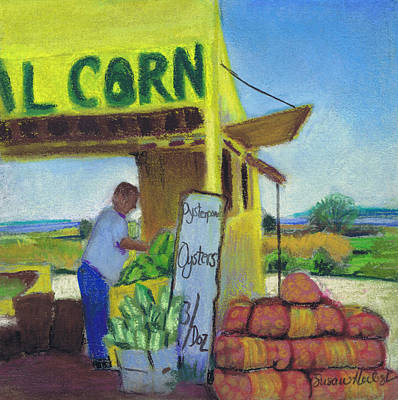Corn And Oysters Farmstand Art Print by Susan Herbst
