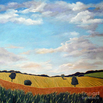 Corn And Wheat - Landscape Art Print by Linda Apple