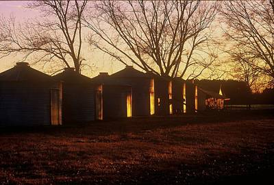 Art Print featuring the photograph Corn Cribs At Sunset by Rodney Lee Williams