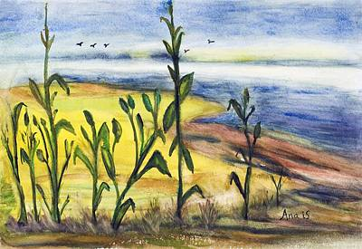 Painting - Corn Field By The Sea by Anais DelaVega