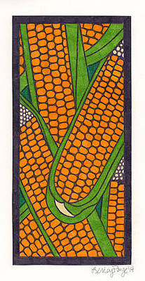 Vegetable Market Drawing - Corn by Lesley Rutherford