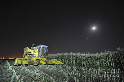 Corn Picker In A Field Art Print