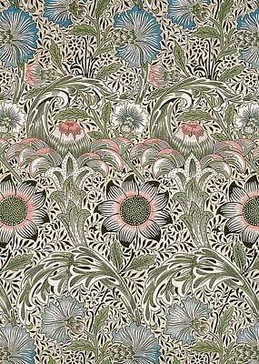 Victorian Digital Art - Corncockle Design by William Morris