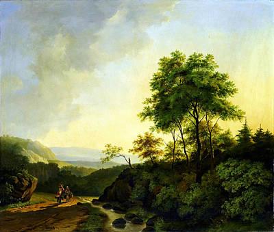 Het Painting - Cornelis Francois Roos Gezicht In Het Harzgebergte1840 by MotionAge Designs