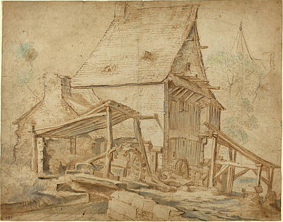 Water Mill Drawing - Cornelis Willaerts Dutch, Active 1622 - 1666 by Quint Lox