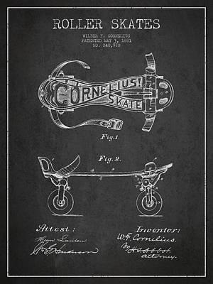 Cornelius Roller Skate Patent Drawing From 1881 - Dark Art Print