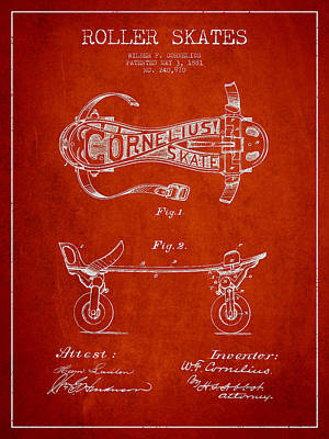 Cornelius Roller Skate Patent Drawing From 1881 - Red Art Print by Aged Pixel