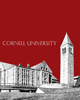 Pen Digital Art - Cornell University - Dark Red by DB Artist