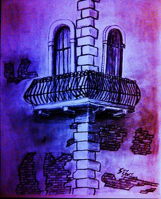 Flourish Drawing - Corner Balcony In Italy by Irving Starr