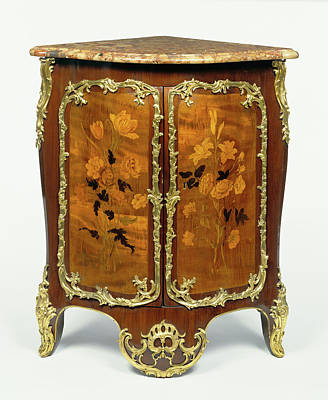 Marquetry Drawing - Corner Cupboard Encoignure Carcass And Mounts Attributed by Litz Collection