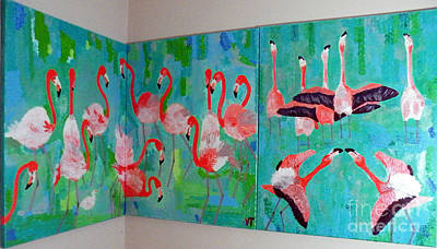 Corner Flamingos Art Print by Vicky Tarcau