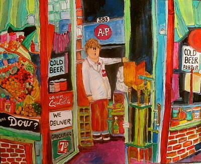 Seven-up Sign Painting - Corner Groceries Montreal Memories by Michael Litvack