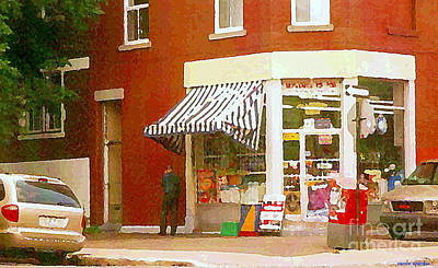 Montreal Street Life Painting - Corner Grocery Store Paintings Depanneur Villeneuve French Wine And Cheese Deli Shop Montreal Art by Carole Spandau