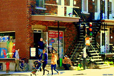 Bread And Cheese Painting - Corner Laurier Marche Maboule Depanneur Summer Stroll With Baby Carriage Montreal Street Scene by Carole Spandau