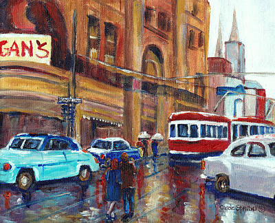 Corner St.catherine And Union Streets-fifties Montreal-vintage Street Scene Art Print by Carole Spandau