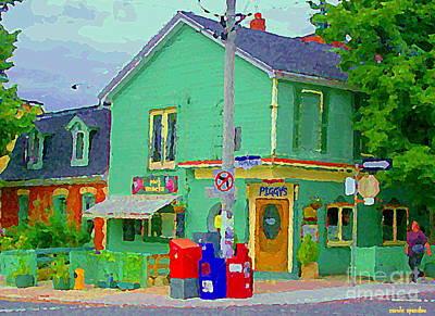 Montreal Storefronts Painting - Corner Stores Toronto Street Scene Paintings Park Snacks Piggys Brunch And Ice Cream Shop Cspandau  by Carole Spandau