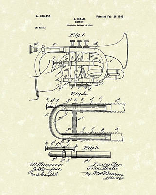 Drawing - Cornet 1899 Patent Art by Prior Art Design