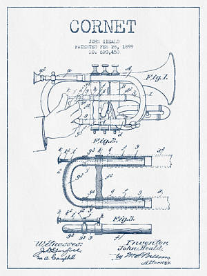 Trumpet Digital Art - Cornet Patent Drawing From 1899 - Blue Ink by Aged Pixel