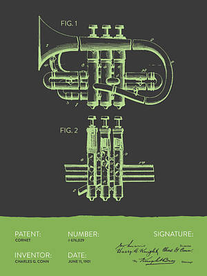 Trumpet Digital Art - Cornet Patent Drawing From 1901 - Gray Green by Aged Pixel