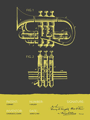 Trumpet Digital Art - Cornet Patent Drawing From 1901 - Gray Yellow by Aged Pixel