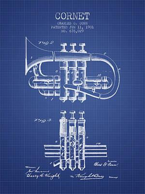 Trumpet Digital Art - Cornet Patent From 1901 - Blueprint by Aged Pixel