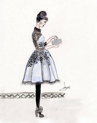 Cornflower Blue Dress Fashion Illustration Art Print by Janelle Nichol