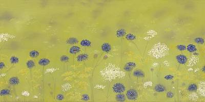 Painting - Cornflowers And Queen Anne's Lace by Flo Markowitz
