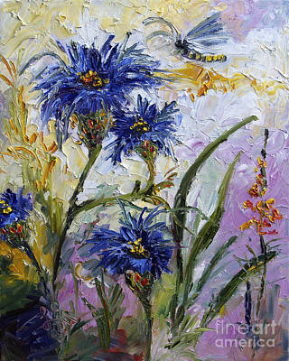 Ginette Impressionism Painting - Cornflowers Provence by Ginette Callaway