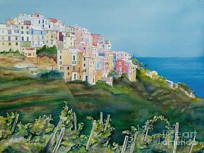 Italian Wine Painting - Corniglia by Amanda Schuster