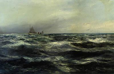 Row Boat Digital Art - Cornish Sea And Working Boat by Charles William Hemy