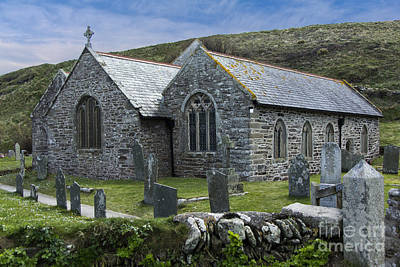 Cornish Seascape St Winwaloe Church Art Print by Brian Roscorla