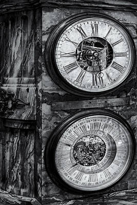National Past Time Photograph - Cornu Clock Bw by Susan Candelario