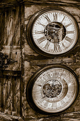 National Past Time Photograph - Cornu Clock In Sepia by Susan Candelario